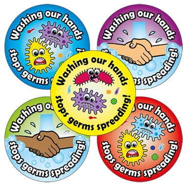Washing Our Hands Stops Germs Spreading Stickers (20 Stickers - 32mm)