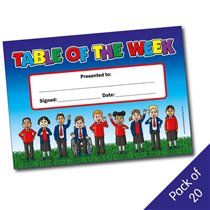 Pack of 20 Table of the Week Award Certificates
