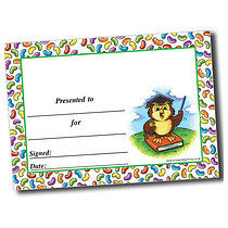 Personalised A5 Owl with Jellybean Border Certificates