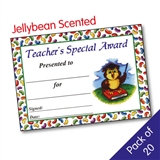 Jellybean Scented Teachers Special Award Certificates