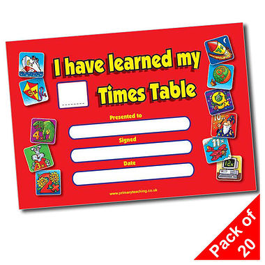 Times Tables Certificates(A5) Pack of 20