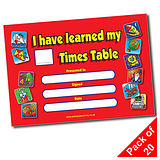 Pack of 20 Times Tables Award A5 Certificates