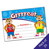 Pack of 20 Grrrreat Tiger Twins Certificates
