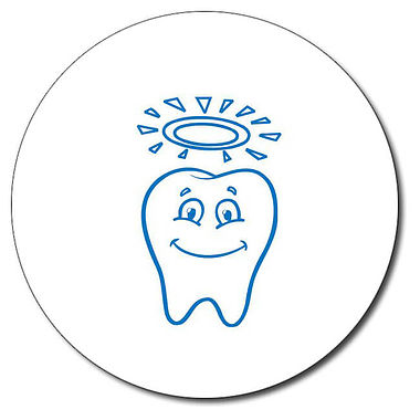 Personalised Tooth With Halo 25mm Blue Ink Stamper