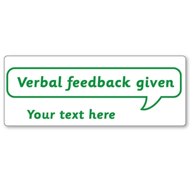 Personalised Verbal Feedback Given Stamper - Green Ink (59mm x 21mm)