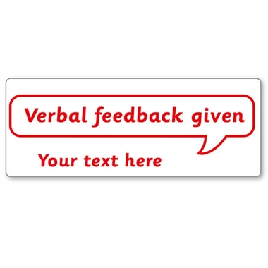 Personalised Verbal Feedback Given Stamper - Red Ink (59mm x 21mm)