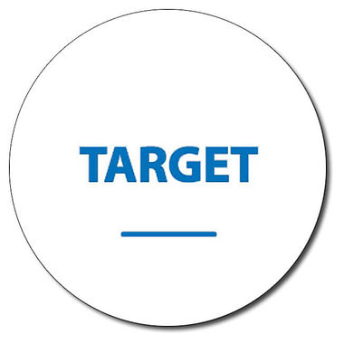 Personalised Target Word 25mm Blue Ink Stamper