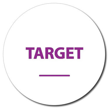 Personalised Target Word 25mm Purple Ink Stamper
