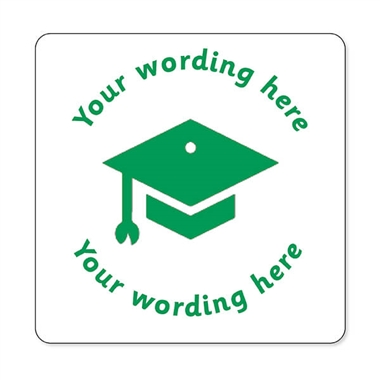 Personalised Mortarboard Stamper - Green Ink (25mm)