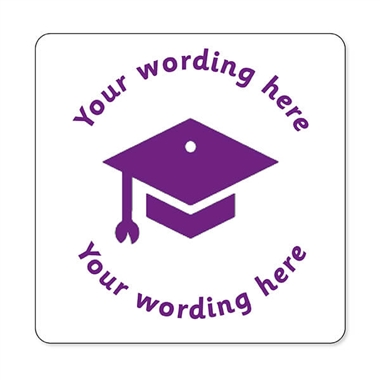 Personalised Mortarboard Stamper - Purple Ink (25mm)