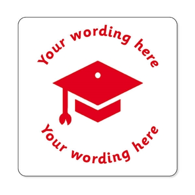 Personalised Mortarboard Stamper - Red Ink (25mm)