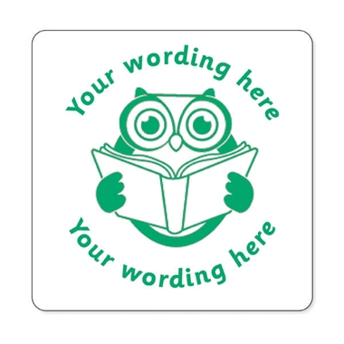 Personalised Owl Reading Stamper - Green Ink (25mm)