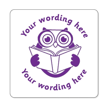 Personalised Owl Reading Stamper - Purple Ink (25mm)
