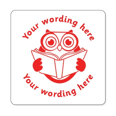 Personalised Owl Reading Stamper - Red Ink (25mm)