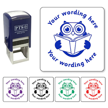 Personalised Owl Reading Stamper (25mm)