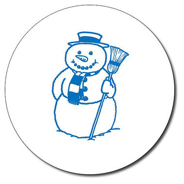 Customised Snowman Stamper - Blue Ink (25mm)