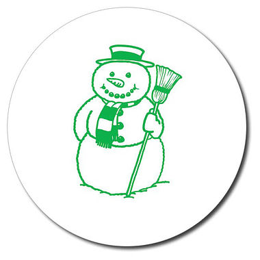 Customised Snowman Stamper - Green Ink (25mm)