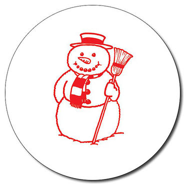 Customised Snowman Stamper - Red Ink (25mm)