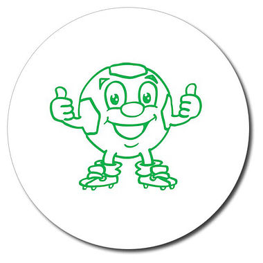 Personalised Football Thumbs Up Stamper - Green Ink (25mm)