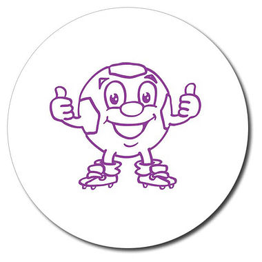 Personalised Football Thumbs Up Stamper - Purple Ink (25mm)