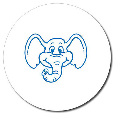 Personalised Elephant 25mm Blue Ink Stamper