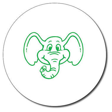 Personalised Elephant 25mm Green Ink Stamper