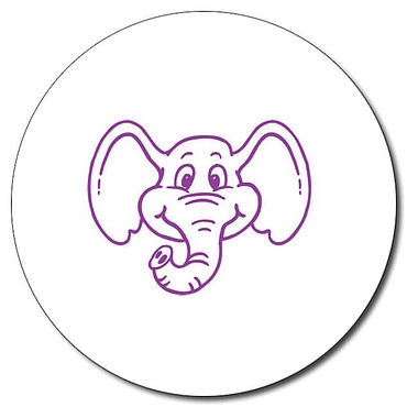 Personalised Elephant 25mm Purple Ink Stamper