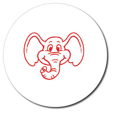 Personalised Elephant 25mm Red Ink Stamper