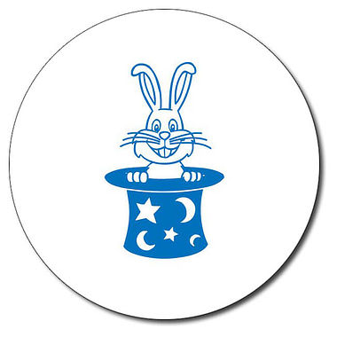 Personalised Rabbit in a Hat Stamper - Blue Ink (25mm)