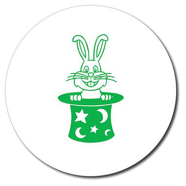 Personalised Rabbit in a Hat Stamper - Green Ink (25mm)
