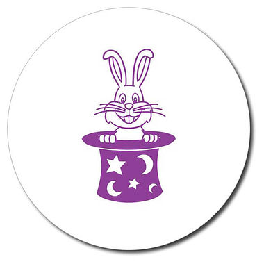 Personalised Rabbit in a Hat Stamper - Purple Ink (25mm)