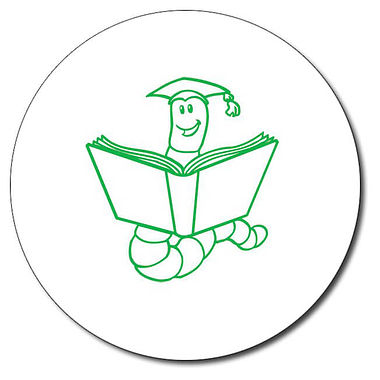 Personalised Bookworm Stamper - Green Ink (25mm)