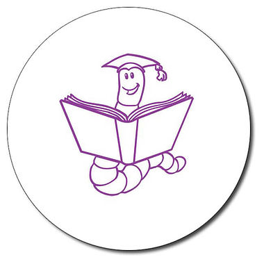 Personalised Bookworm Stamper - Purple Ink (25mm)