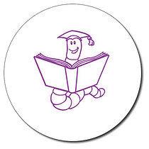 Personalised Bookworm 25mm Purple Ink Stamper