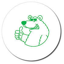 Personalised Polar Bear 25mm Green Ink Stamper