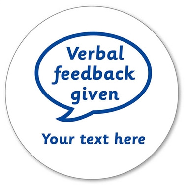 Personalised Verbal Feedback Given Stamper - Blue Ink (25mm)