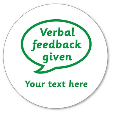 Personalised Verbal Feedback Given Stamper - Green Ink (25mm)
