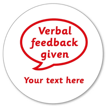 Personalised Verbal Feedback Given Stamper - Red Ink (25mm)