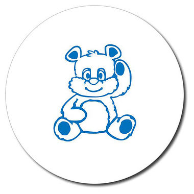 Personalised Teddy Bear Stamper - Blue Ink (25mm)