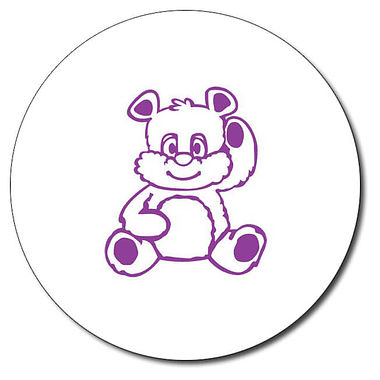 Personalised Teddy Bear Stamper - Purple Ink (25mm)