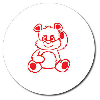 Personalised Teddy Bear Stamper - Red Ink (25mm)