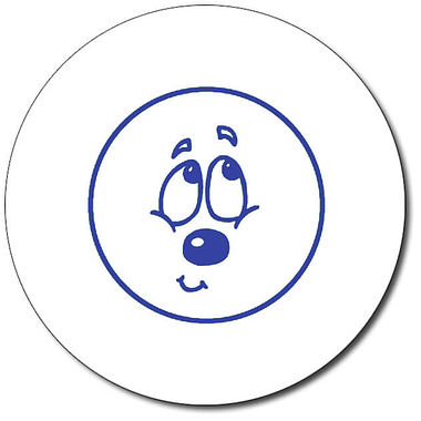 Personalised Expression Circle Bashful 25mm Blue Ink Stamper