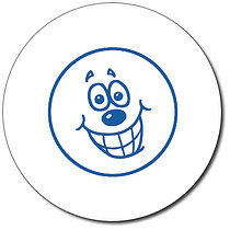 Personalised Expression Circle Grin 25mm Blue Ink Stamper