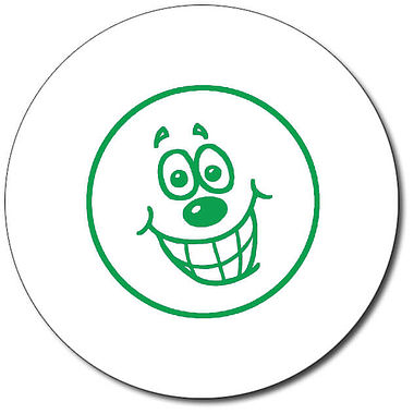 Customised Happy Face Stamper - Green Ink (25mm)