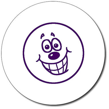 Customised Happy Face Stamper - Purple Ink (25mm)