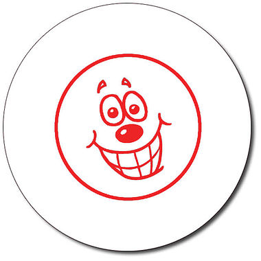 Customised Happy Face Stamper - Red Ink (25mm)