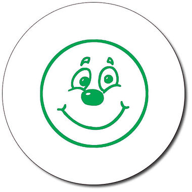 Personalised Smiley Face Stamper - Green Ink (25mm)
