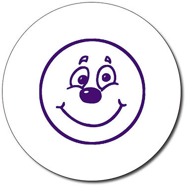 Personalised Smiley Face Stamper - Purple Ink (25mm)