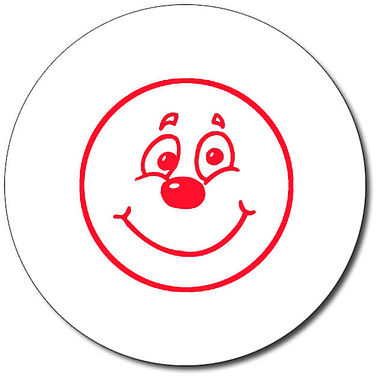 Personalised Smiley Face Stamper - Red Ink (25mm)