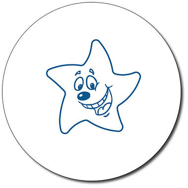 Personalised Expression Star Happy 25mm Blue Ink Stamper